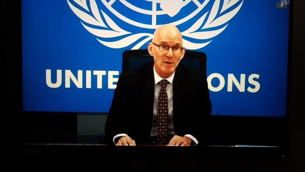 الممثل الخاص للأمين العام للأمم المتحدة في الصومال، جيمس سوان في إحاطة افتراضية قدمها لمجلس الأمن، اليوم الخميس، حول تأثير كوفيد-19 والتحديات الأخرى التي تواجه الصومال.