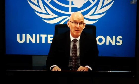 UNSOM head James Swan at the Security Council on 21 May 2020.He says that despite severe COVID-19 effects, Somalia is making progress on State-building priorities including preparing for one-person-one-vote elections.