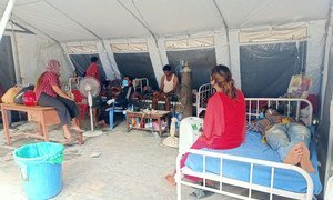 UNICEF staff and the Nepal Army install a medical tent on the premises of the overcrowded Bheri Hospital in Nepalgunj Sub-Metropolitan City, mid-western Nepal.