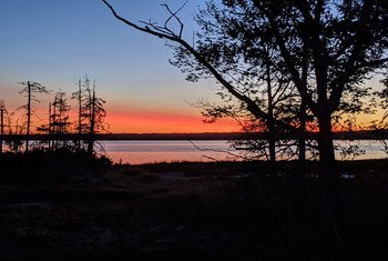 The sun sets in Acadia National Park, Maine, United States.