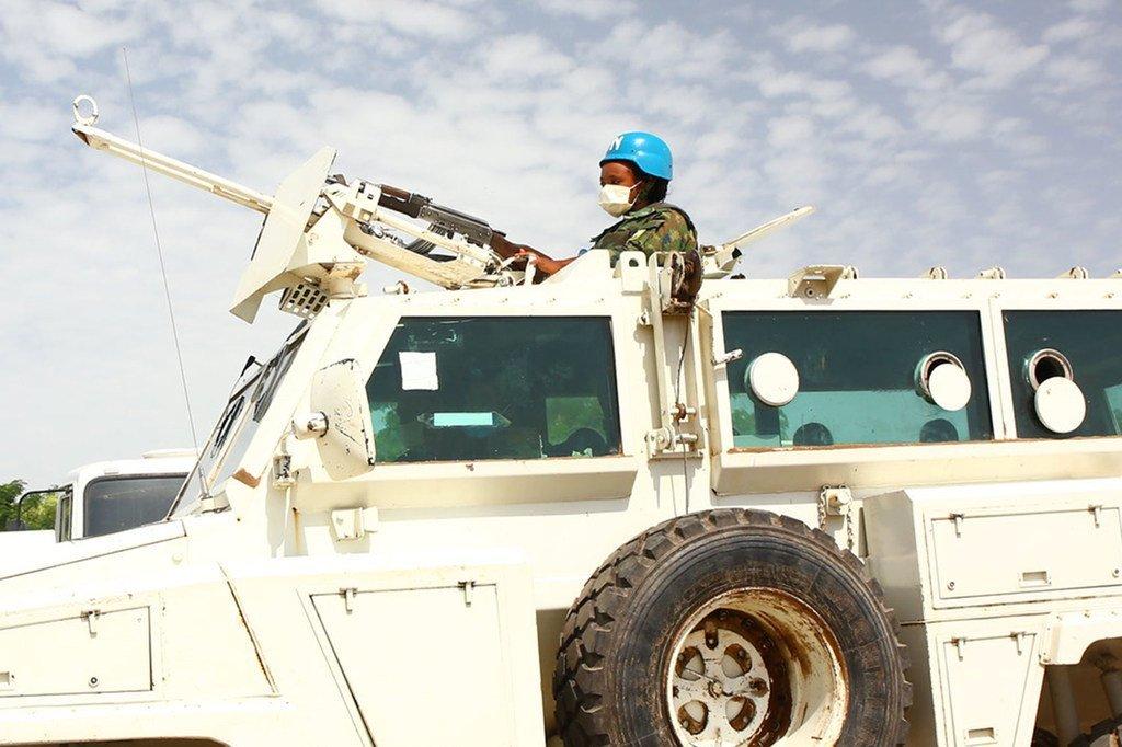 Une femme Casque bleue participe à un entraînement à Malakal, au Soudan du Sud.