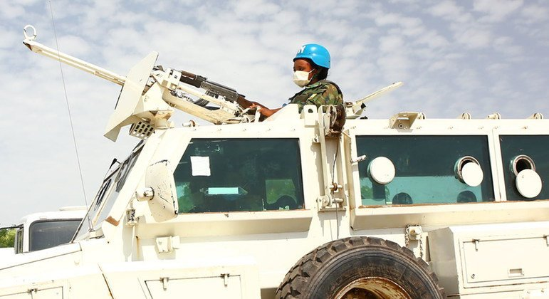 A woman UN peacekeeper attends a training exercise in Malakal, South Sudan.