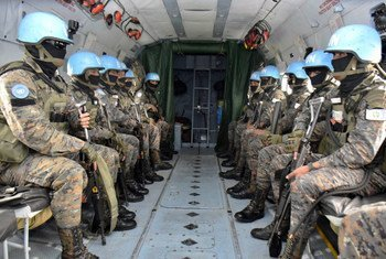 A contingent of UN peacekeepers from Guatemala flies by helicopter on mission in the Democratic Republic of the Congo.