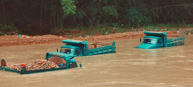 Inundaciones en la localidad china de Shaoguan durante las lluvias extremas caídas en julio de 2021.