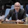 Le Représentant spécial du Secrétaire général pour la Somalie, James Swan, devant le Conseil de sécurité.