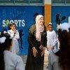 "UNRWA Students at Rafah Preparatory Girls School ""C"" are happy to meet their friends after 5 months break."