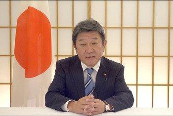 日本外务大臣茂木敏充在联合国成立75周年纪念大会上发表视频致辞。