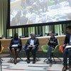 Активистка Грета Тунберг и Генеральный секретарь ООН Антониу Гутерриш (в центре) на Молодежном саммите по климату