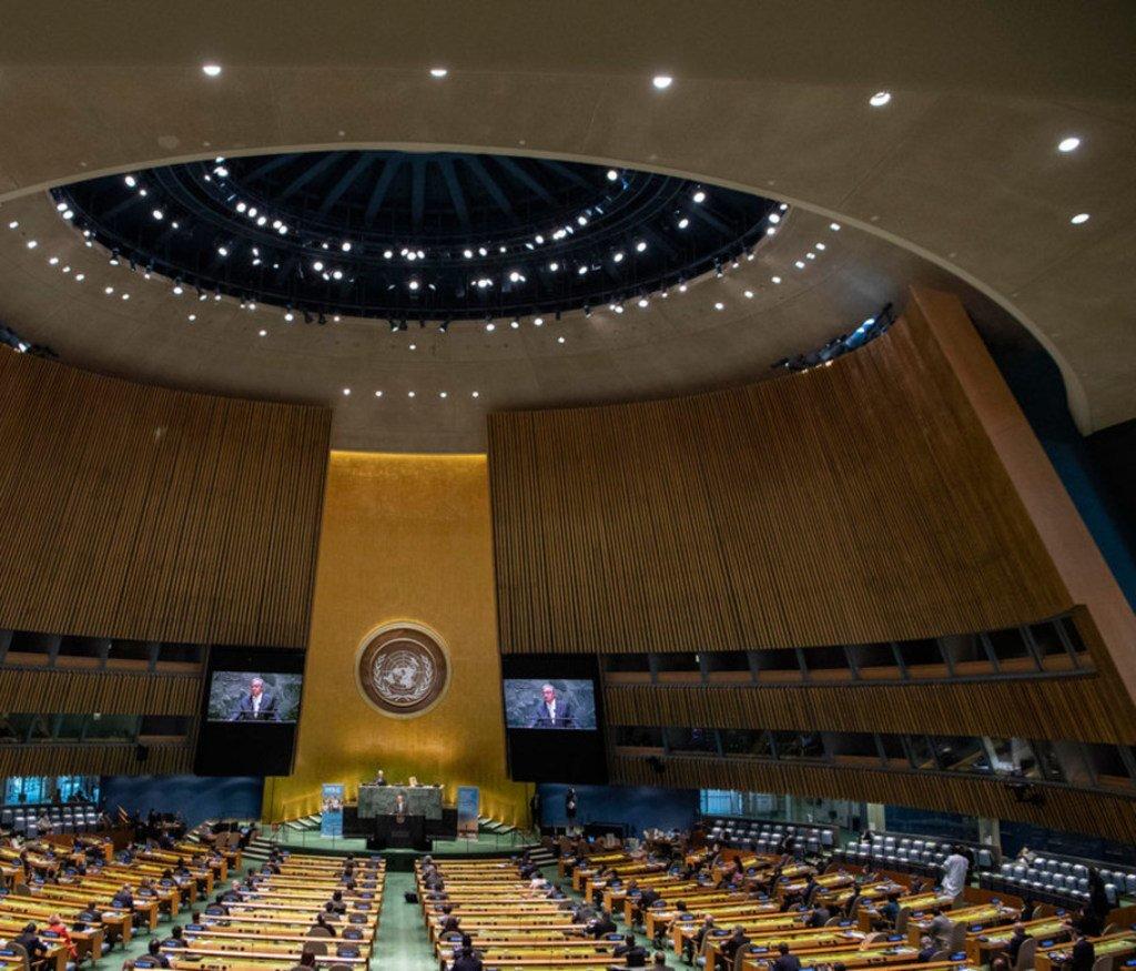 联合国在纽约总部举行成立75周年纪念大会,受到新冠疫情影响,各国政要通过网络视频方式远程出席。