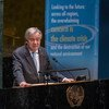El Secretario General de las Naciones Unidas, António Guterres, se dirige a los delegados en la sala de la Asamblea General.