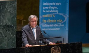 The UN Secretary-General António Guterres addresses delegates in the General Assembly  hall.