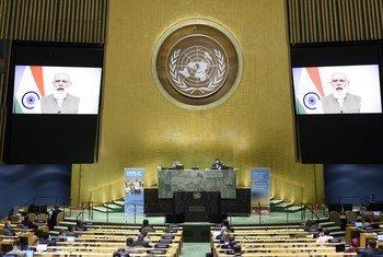 联合国大会举行高级别会议,纪念联合国成立75周年。印度总理莫迪通过视频向活动致辞。