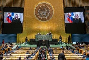 Imagen de la ASamblea General durante la intervención de la presidenta de Eslovaquia