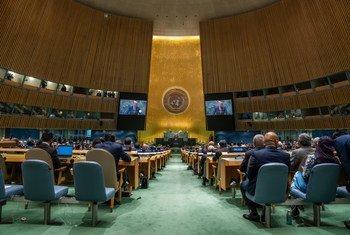 联合国秘书长古特雷斯在第76届联大一般性辩论中发表致辞。