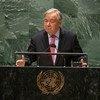 Le Secrétaire général de l'ONU, António Guterres, à l'ouverture du débat général de l'Assemblée générale des Nations Unies.