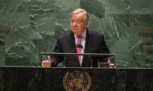 El Secretario General António Guterres interviene en la apertura del debate general del 76º período de sesiones de la Asamblea General de la ONU.