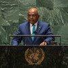यूएन महासभा के अध्यक्ष अब्दुल्ला शाहिद, 76वें सत्र के दौरान उच्चस्तरीय 'जनरल डिबेट' को सम्बोधित करते हुुए (21 सितम्बर 2021)