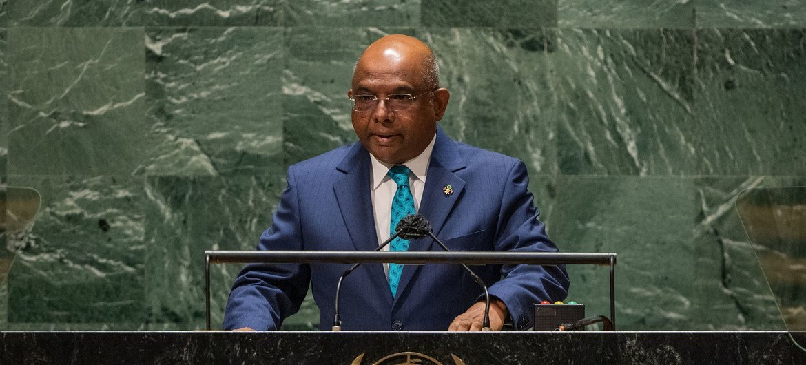 UN General Assembly President Abdulla Shahid addresses the general debate of the UN General Assembly's 76th session.