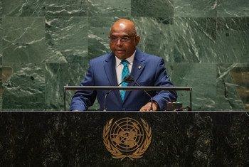 联大主席沙希德在第76届联大一般性辩论中发表致辞。