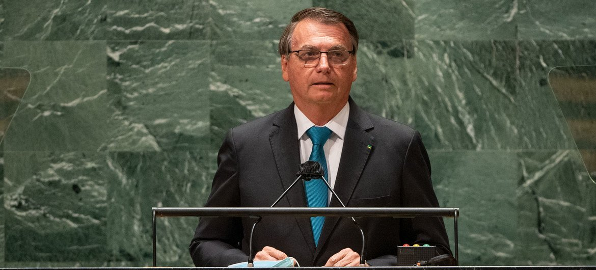 President Jair Messias Bolsonaro of Brazil addresses the general debate of the UN General Assembly's 76th session.