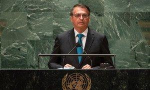 Presidente do Brasil, Jair Messias Bolsonaro, em discurso na 76a Assembleia Geral das Nações Unidas