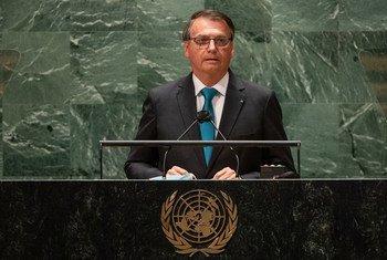 巴西总统博索纳罗在第76届联大一般性辩论中发表致辞。