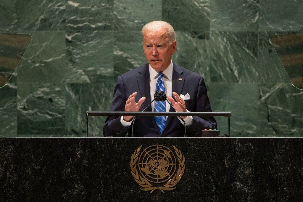 Rais Joseph R. Biden  Jr wa Marekani akizungumza katika Baraza Kuu la Umoja wa Mataifa UNGA76