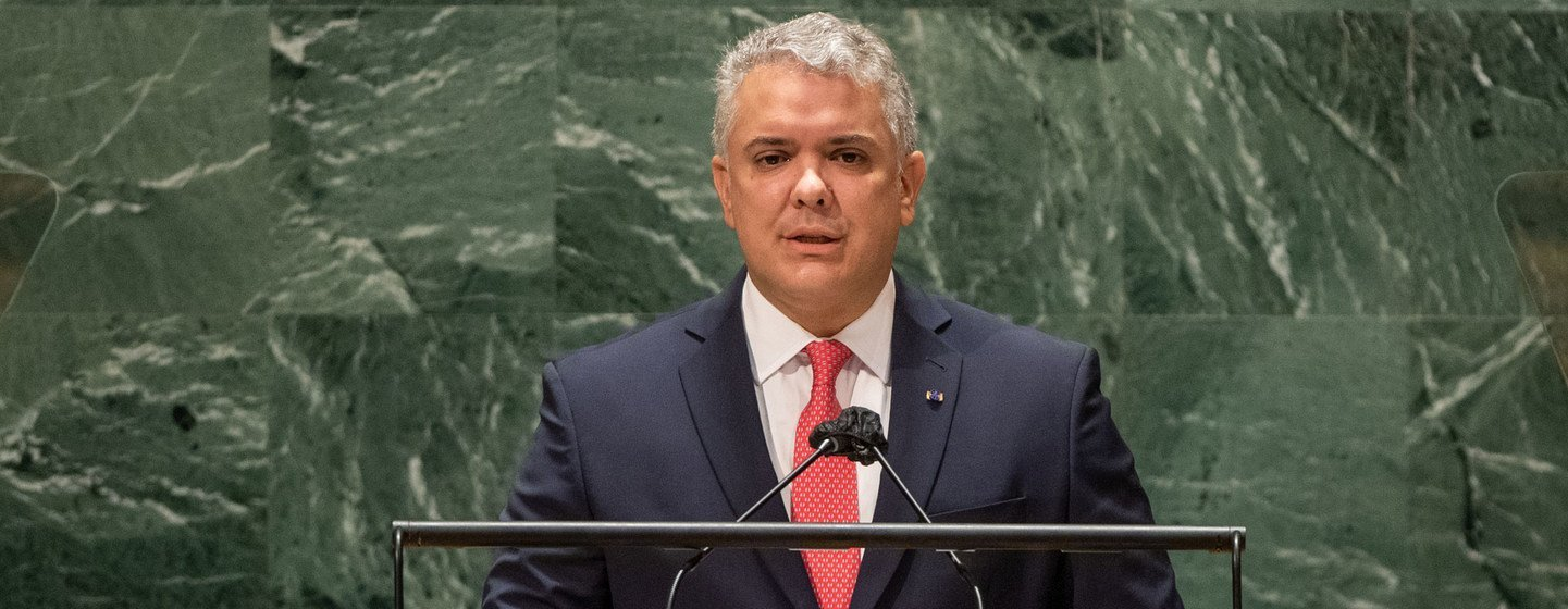 President Iván Duque Márquez of Colombia addresses the general debate of the UN General Assembly's 76th session.