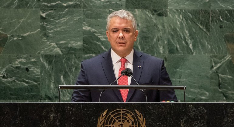 El Presidente de Colombia, Iván Duque Márquez, interviene en el debate general de la 76ª sesión de la Asamblea General de la ONU.