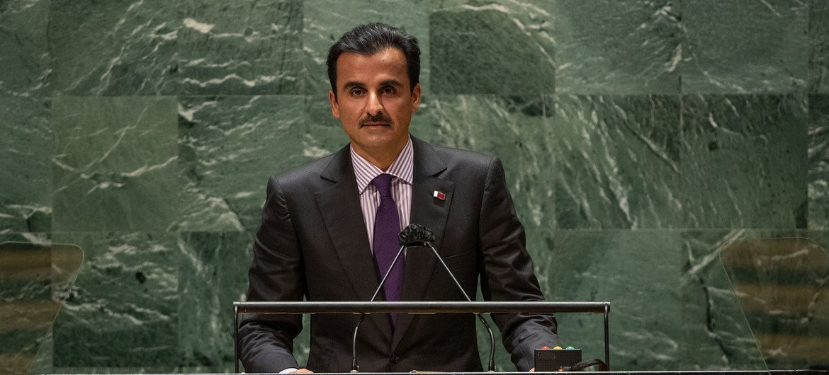 Sheikh Tamim bin Hamad Al Thani, Amir of the State of Qatar, addresses the general debate of the UN General Assembly's 76th session.