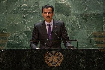 الشيخ تميم بن حمد آل ثاني، أمير دولة قطر، يتحدث في مداولات الدورة السادسة والسبعين للجمعية العامة. (21 أيلول/سبتمبر 2021).