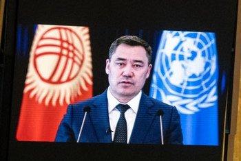 Выступление Президента Кыргызской Республики Садыра Жапарова перед делегатами 76-й сессии Генеральной Ассамблеи ООН