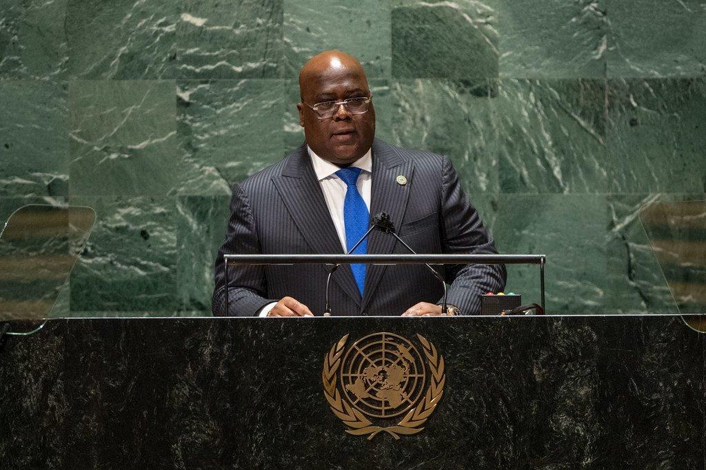 Rais wa Félix-Antoine Tshisekedi Tshilombo wa Jamhuri ya Kidemokrasia ya Congo, DRC akihutubia mjadala mkuu wa mkutano wa 76 wa Baraza Kuu la UN