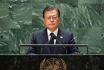 南韩总统文在寅在第76届联大一般性辩论中发表致辞。