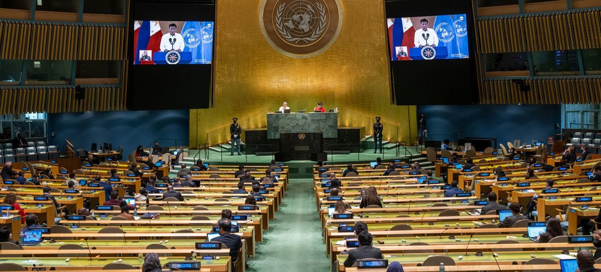 President Rodrigo Roa Duterte (on screens) of the Philippines addresses the general debate of the UN General Assembly's 76th session.