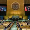 President Xi Jinping (on screens) of China addresses the general debate of the UN General Assembly's 76th session.