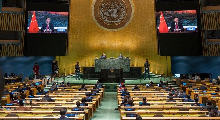 El presidente de China Xi Jinping se dirige a la Asamblea General durante la reunión de alto nivel del 76 periodo de sesiones.