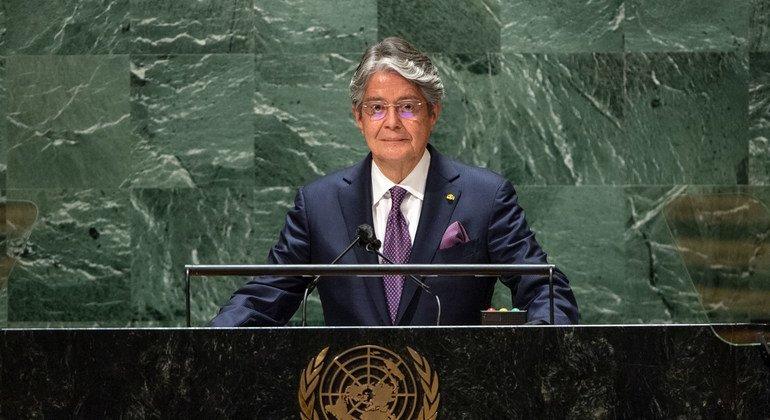 Guillermo Lasso Mendoza, presidente de Ecuador, durante su intervención en el debate del 76 periodo de sesiones de la Asambla General.