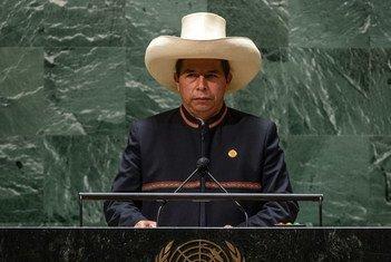 El presidente de Perú, Pedro Castillo Terrones, se dirige a la Asamblea General de la ONU.
