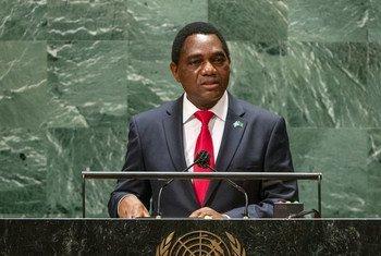 Rais Hakainde Hichilema wa Zambia akihutubia mjadala mkuu wa Baraza Kuu la Umoja wa Mataifa, UNGA76