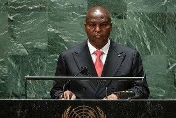 Le Président de la République centrafricaine, Faustin-Archange Touadéra, lors du débat général de l'Assemblée générale des Nations Unies.