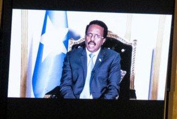 President Mohamed Abdullahi Mohamed Farmajo of Somalia addresses the general debate of the UN General Assembly's 76th session.