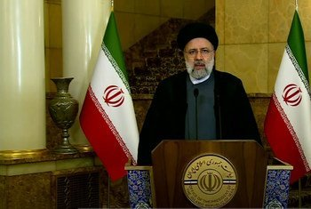 伊朗总统莱希在第76届联大一般性辩论中发表致辞。