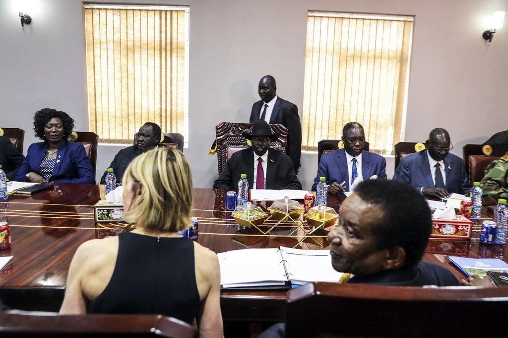 Wajumbe wa baraza la usalama la Umoja wa Mataifa wakutana na rais wa Sudan Kusini Salva Kiir mjini Juba.