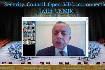Zahir Tanin, Special Representative of the Secretary-General and Head of the UN Interim Administration Mission in Kosovo, briefs the open videoconference with Security Council members in connection with the United Nations Mission in Kosovo (UNMIK).