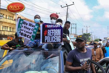Nigerians protest in Lagos over the now-disbanded and discredited police unit, known as the Special Anti-Robbery Squad, or SARS.
