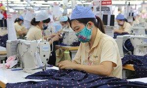 Women at work in a garment factory in Hai Phong, Viet Nam.