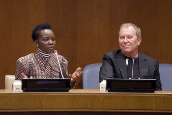 Academy Award-winning actress Lupita Nyong'o (left) and fashion mogul and UN Goodwill Ambassador Michael Kors speak at UN headquarters in New York about the Watch Hunger Stop campaign, a partnership between Michael Kors and the World Food Programme (WFP