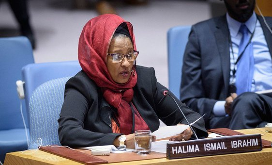 Halima Ismail Ibrahim, Chair, National Independent Electoral Commission, briefs members of the UN Security Council.