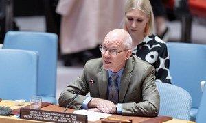 جيمس سوان الممثل الخاص للأمين العام في الصومال خلال تقديمه إحاطة لمجلس الأمن الدولي اليوم الخميس عن الوضع في الصومال(21 تشرين الثاني/ نوفمبر 2019).